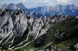 Ennstal Alps - View over the ridge of the Haller Mauern (Admonter Warte) to the Gesäuse Mountains.