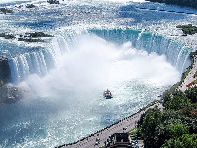 File:Aerial view of the Canadian Falls (Horseshoe Falls) and the Hornblower Niagara Cruises boat; Niagara Falls.JPG