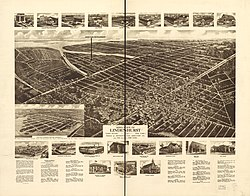 Panoramic map of Lindenhurst from 1926 with list of landmarks and images of several inset
