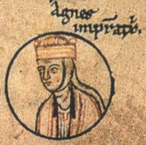 Agnes of Poitou - Empress Agnes, Chronica Sancti Pantaleonis, Cologne, about 1237