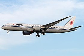 Air China Boeing 787-9 on finals at Beijing Capital Airport.jpg