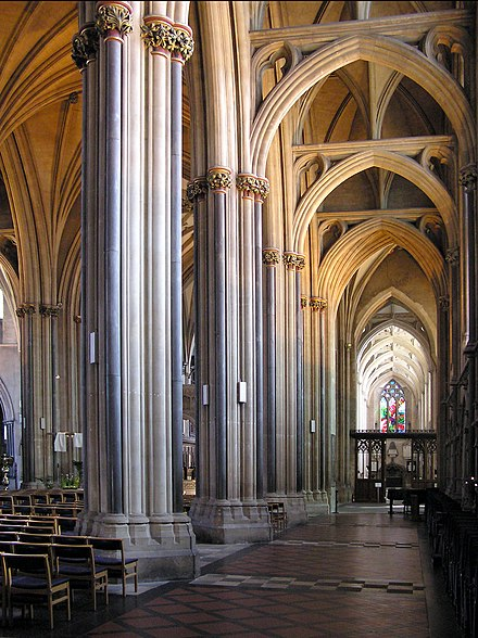 An aisle of Bristol Cathedral, Bristol, England. Aisle.bristol.cathedral.arp.jpg