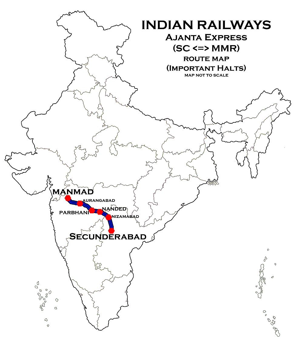 Ajantha Express Route map