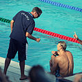 Alain Bernard with Denis Auguin - 2009 FINA World Championships.jpg