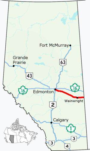 Alberta Highway 14 - Image: Alberta Highway 14 Map