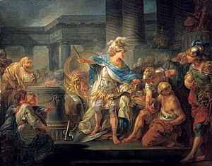 Alexander cuts the Gordian Knot, by Jean-Simon Berthélemy (1743–1811)