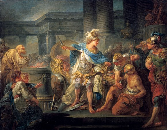 Alexander Cuts the Gordian Knot (1767) by Jean-Simon Berthelemy Alexander cuts the Gordian Knot.jpg