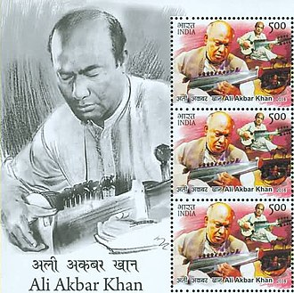 Ali Akbar Khan - Khan on a 2014 stamp sheet of India