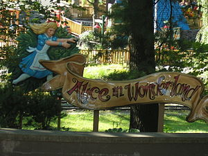 Great Escape (amusement park) - Entrance sign to the Alice in Wonderland walkthrough.