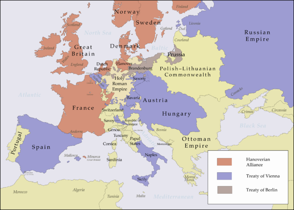 Coalitions in Europe between 1725 and 1730. Signatories of the Treaty of Vienna (April 30, 1725) in blue and signatories of the Treaty of Hanover (September 3, 1725) in red. Prussia, in brown, first joined the Hanoverian Alliance, but later changed sides after the Treaty of Berlin on December 23, 1728. Alliances in Europe 1725-1730.png