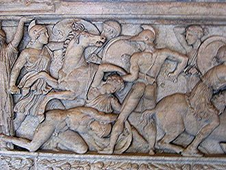 Women in ancient warfare - Amazonomachy battle between Greeks and Amazons, relief of a sarcophagus – c. 180 BCE, found in Thessaloniki, 1836, now in the Louvre, Department of Greek Antiquities