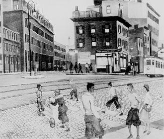 """Allan Crite - Douglass Square, Boston, by Allan Crite. Oil. 20"""" x 24"""". 1936. Commissioned by the Federal Arts Project."""