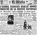 Amiral Darlan - une du journal Le Matin - 13 août 1941.jpg