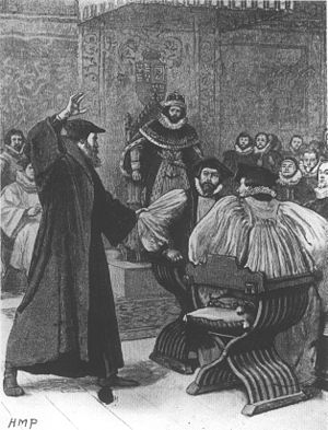 Andrew Melville - A fanciful Victorian depiction of Melville upbraiding bishops in the presence of James VI