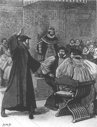Bishops in the Church of Scotland - Victorian depiction of Andrew Melville challenging bishops at the court of James VI