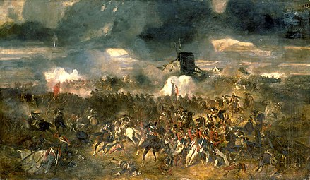 The Battle of Waterloo put a definite end to Napoleon Bonaparte's attempt to return to France and thus secured the Bourbon restoration. By Clement-Auguste Andrieux. Andrieux - La bataille de Waterloo.jpg