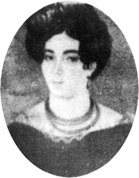 Miniature portrait of a young, dark-haired lady wearing a lace-trimmed dress and necklace