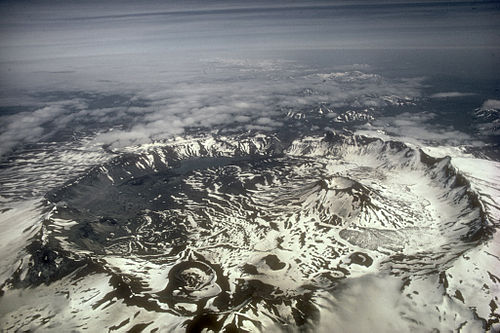 Aerial view of Aniakchak caldera