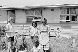 Ann Curthoys and Louise Higham interview residents at Moree Aborigial Station 17 Feb 1965.jpg