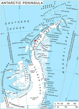 Cape Evensen - Location of Stresher Peninsula on Graham Land, Antarctic Peninsula.