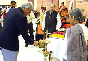 Anthony Parel - Anthony Parel lights a traditional diya at the Hind Swaraj International Centenary Conference in Nov 2009.