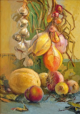 Antonio Sicurezza -  Still Life With Onions, 1976, private collection.
