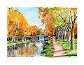 Aquarelle- le canal du midi - France (5653398108).jpg