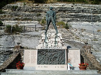 Italian resistance movement - Partisan monument (Arcevia) with Italian and Yugoslav names