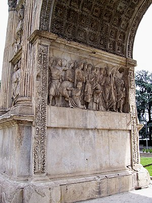 Arch of Trajan (Benevento) - Detail of the sacrifice panel in the archway.