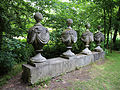 Architectural row of urns Gibberd Garden Essex England.JPG