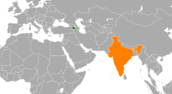 Map indicating locations of Armenia and India