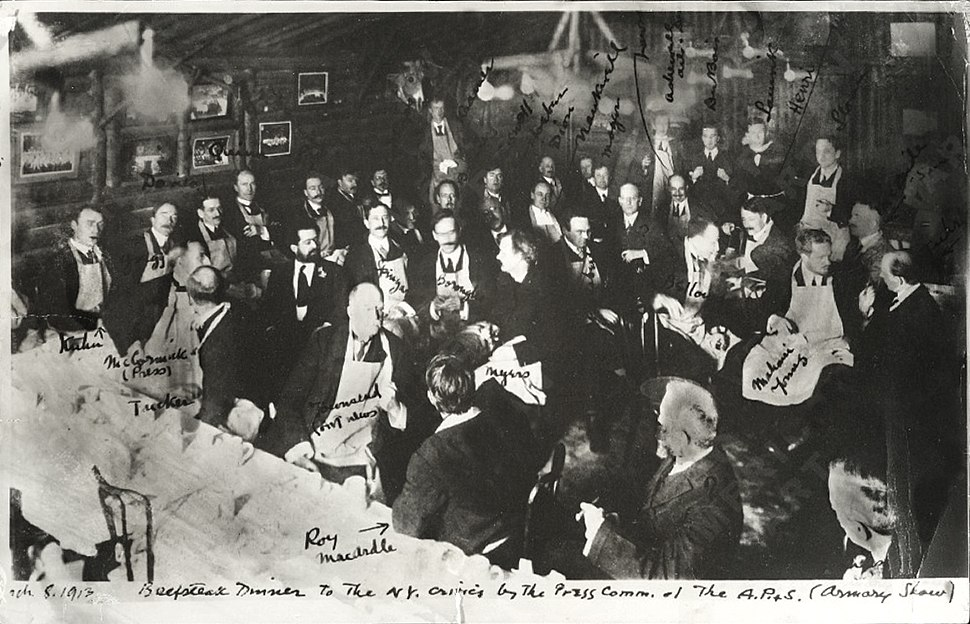 Armory Show artists and members of the press at the beefsteak dinner given by the Association of American Painters and Sculptors, 8 March 1913