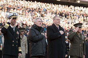 Robert O. Work - Adm. John M. Richardson, Sec. Ray Mabus, Deputy Sec. Work, and Gen. Robert Neller at the 117th Army-Navy Game in Dec. 2016.
