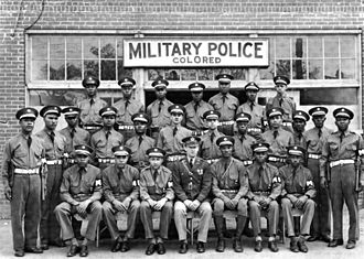 "Army Air Force Military Police ""colored"" unit at Columbus, GA, in April 1942 Army MP.jpg"