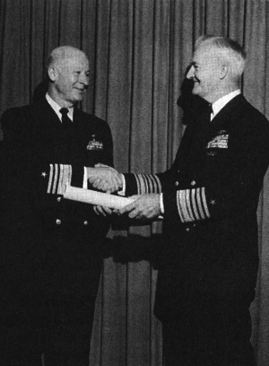 Jackson D. Arnold - Receiving promotion to vice admiral from Admiral Ignatius J. Galantin (right), 1969.