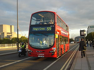 London Buses route 59 - Arriva London Wright Gemini 2 bodied VDL DB300 on Waterloo Bridge in October 2013