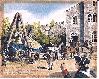 Liberty Bell - Reproduction of a watercolor by Davis Gray of the arrival of the Liberty Bell at Zions Church, in Northampton Towne, (later Allentown) Pennsylvania on 24 September 1777. (Holdings of the Lehigh County Historical Society)