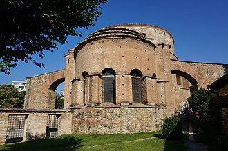 Flying buttress - The 4th-century Rotunda of Galerius in Thessaloniki, Greece, showing an early example of flying buttresses.