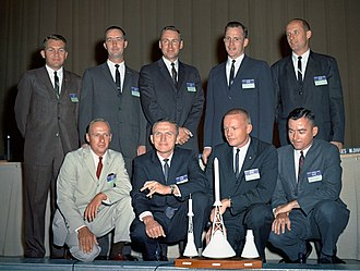 "Elliot See - Elliot See (standing row, left) with fellow ""New Nine"" astronauts"