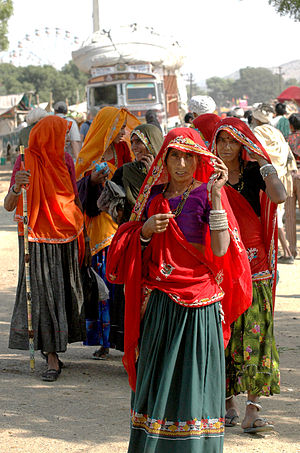Dupatta - Women from Jaipur, India wearing gagra choli and  dupatta