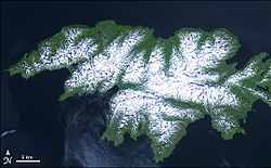Attu Island with land area of 892.795 km² (344.71 sq mi)