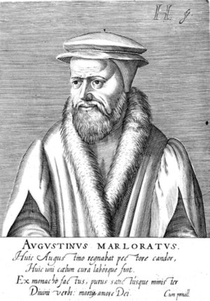 Jacobus Verheiden - Augustin Marlorat, engraving by Henrik Hondius the Elder from Praestantium aliquot theologorum (1602).