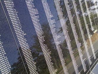 Australian Ex-Prisoners of War Memorial - Image: Aussie Ex POW List Section