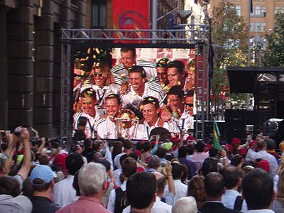 A crowd of over 10,000 fans welcome the Australian team on completing the first World Cup hat-trick  - Martin Place, Sydney. Australian World Cup treble.jpg