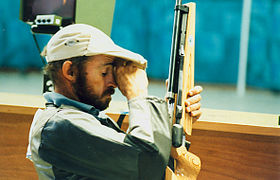 Australian paralympic shooter, Ashley Adams rests.jpg