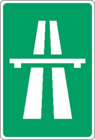 Motorways in North Macedonia - The road sign informing the motorists they are travelling on an avtopat