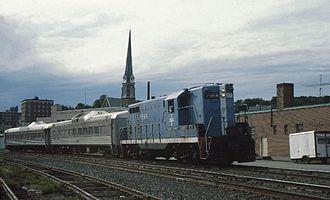 Fitchburg Intermodal Transportation Center - An MBTA train at Fitchburg in 1980