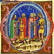 A bearded elderly man seizes a crown from the head of a child and a bearded elderly man wearing a gilded cloth is crowned king by the same crown