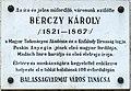 Bérczi Károly plaque (Balassagyarmat Rákóczi fejedelem út 66).jpg