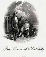 BEP vignette of Franklin and Electricity by Alfred Jones